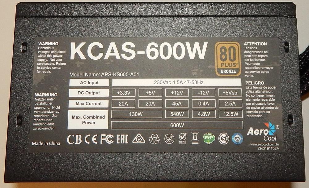 Характеристики AEROCOOL KCAS-600W