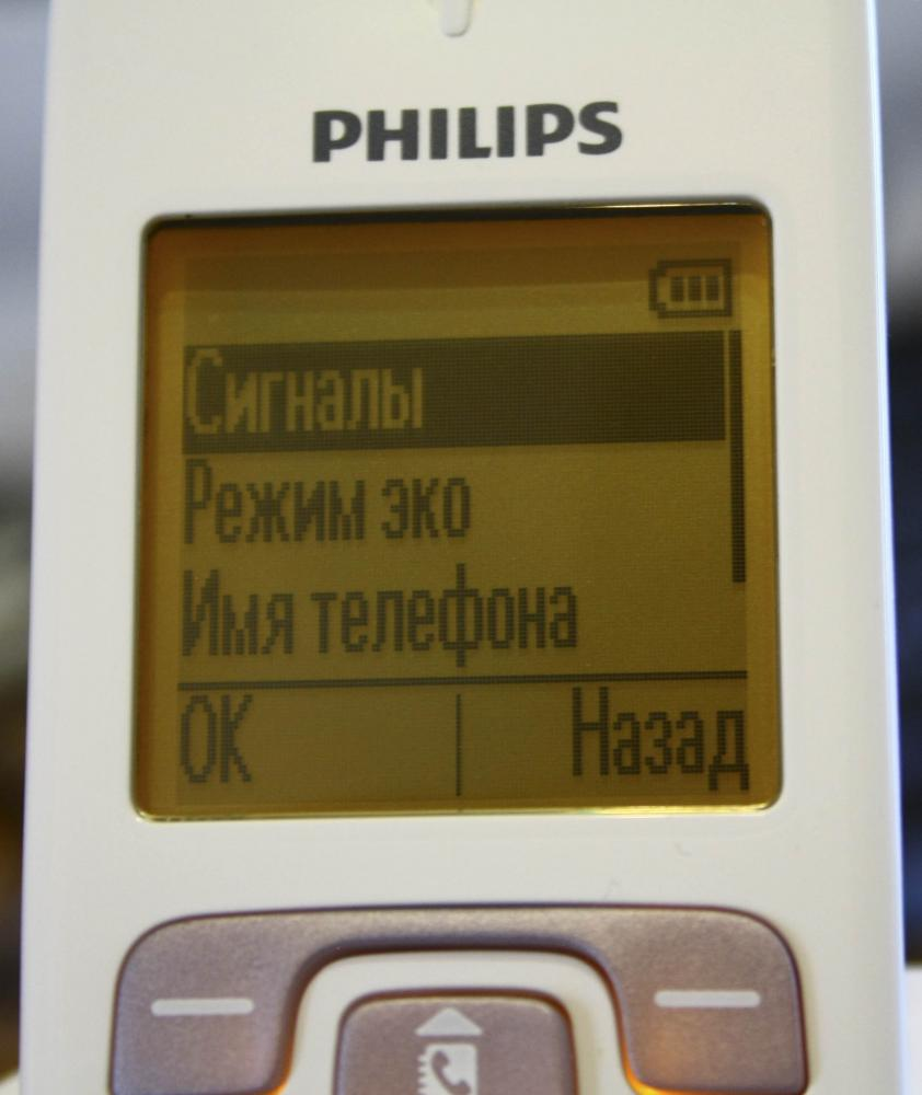 русифицированное меню DECT PHILIPS CD2901P