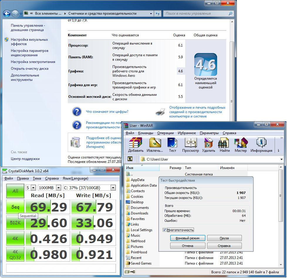 Фото 5 - Рейтинг производительности Windows7 64-bit, тест быстродействия WinRAR, .тест скорости жесткого диска CrystalDiskMark.