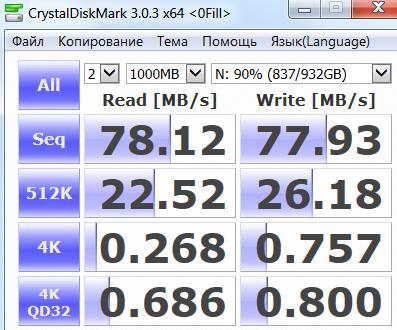 HDD HTS 5410 - CrystalDiskMark