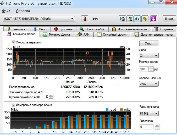 Тест линейного чтения и записи винчестера HTS721010A9E630