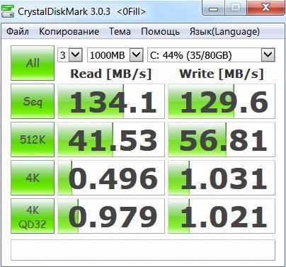 Тестирование жёсткого диска HTS721010A9E630 - Crystal Disk Mark