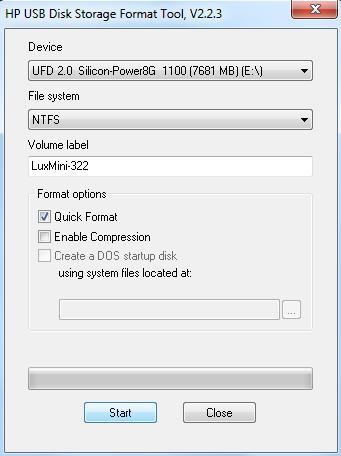 LuxMini 322 - HP USB DS Format Tool