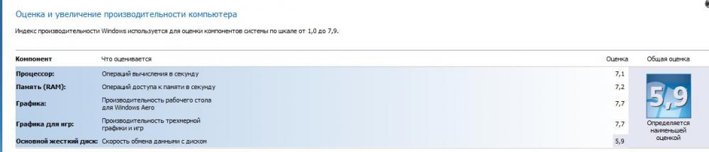 после совсем  незначительного разгона Винда оценила ее 7.7/ GTX