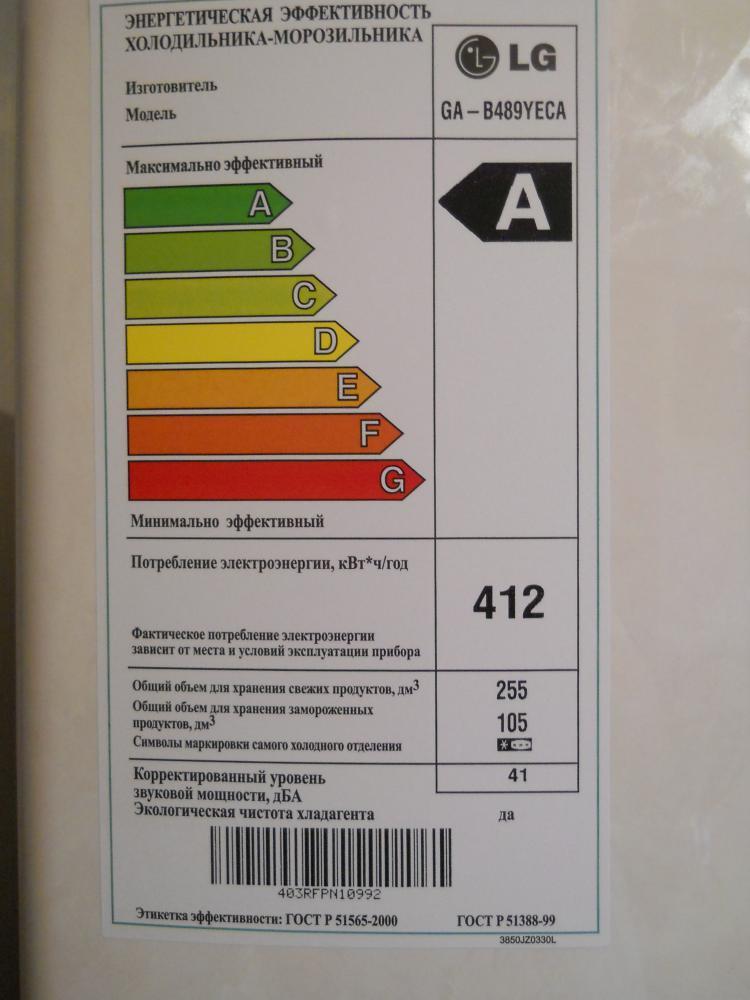 Класс энергопотребления А,довольно таки низкий.