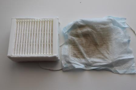 Рис.1. Повязка (справа) после 2-х сухих уборок и 1-й влажной (уборка проводилась 1 раз в неделю).