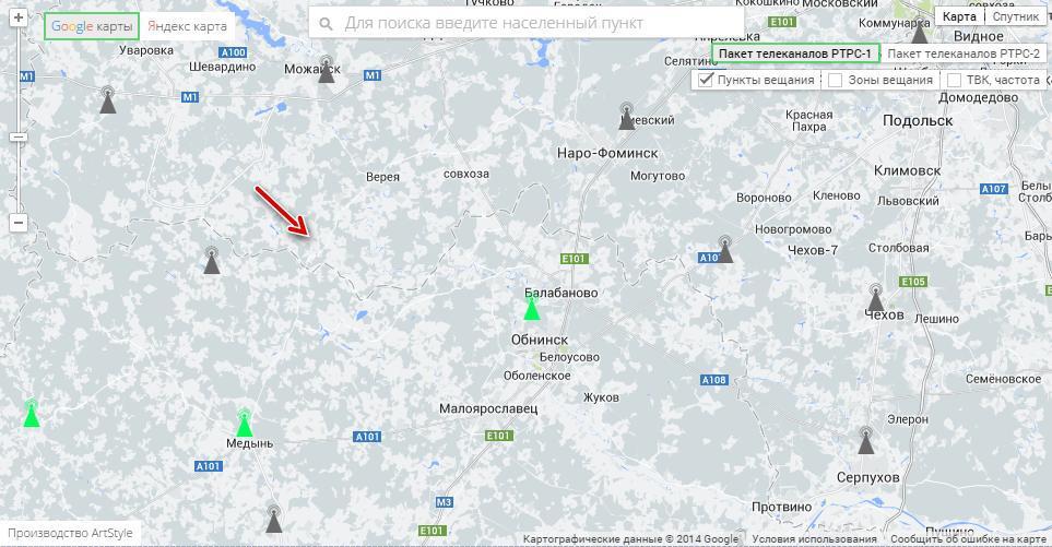 Карта расположения ретрансляторов