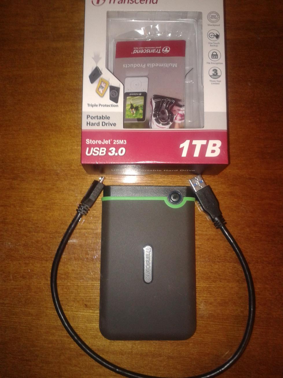 Внешний жёсткий диск Transcend StoreJet 25m3 (USB3.0),1TB