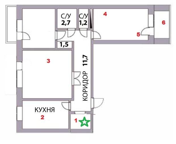 план квартиры и расположение роутера