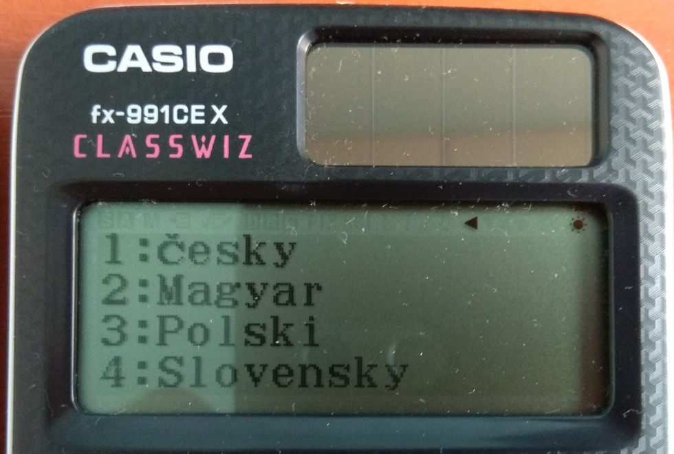 FX-991CEX меню выборя языка