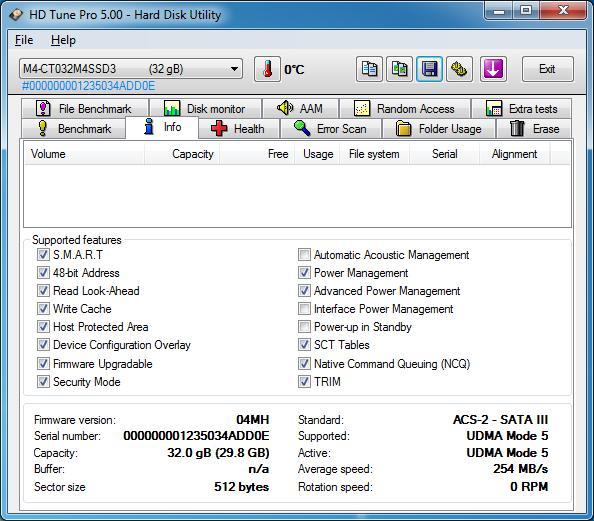 HD Tune Pro 5.00 Info