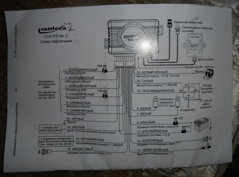 инструкция сигнализации пантера pn 332