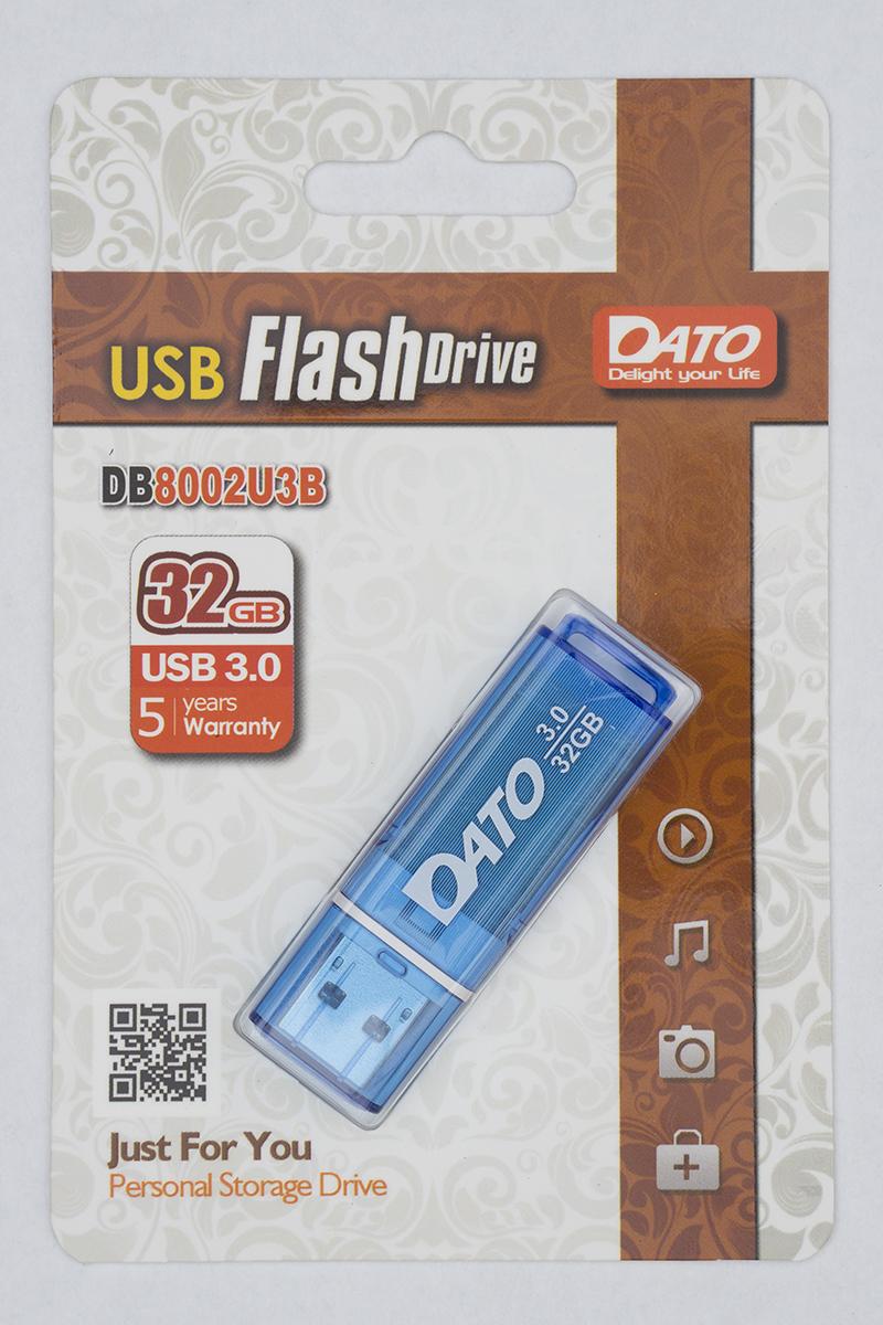 Внешний вид флешки USB DATO DB8002U3 32Гб, USB3.0, цвет - синий.