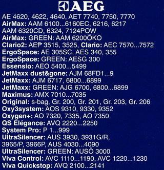 подробная информация по моделям AEG